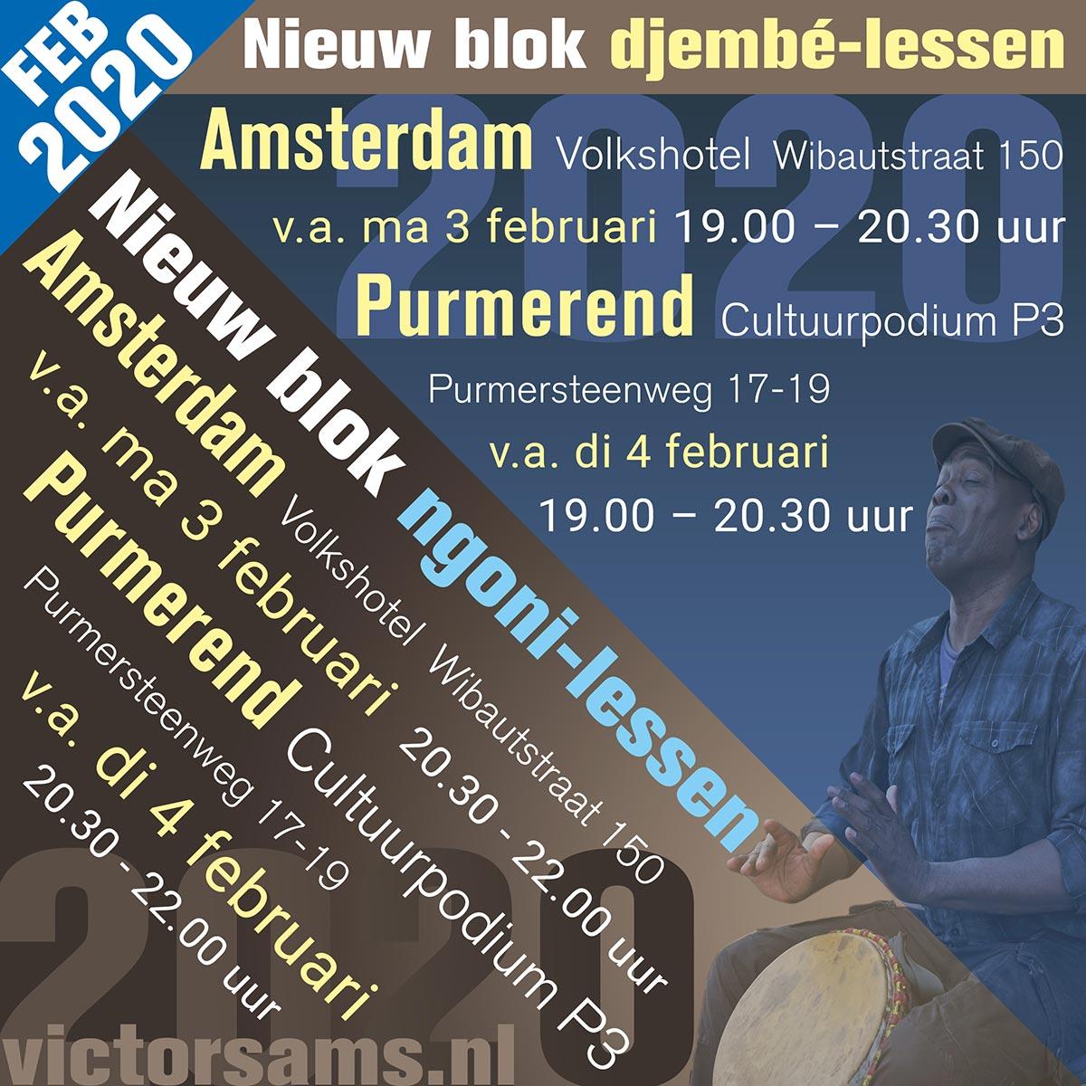 wekelijkse djembe lessen victor sams februari 2020 - Victor Sams Djembé Workshops