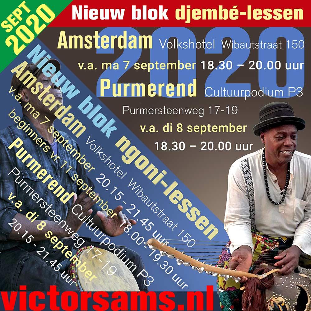 wekelijkse djembe lessen victor sams september 2020 - Victor Sams Djembé Workshops